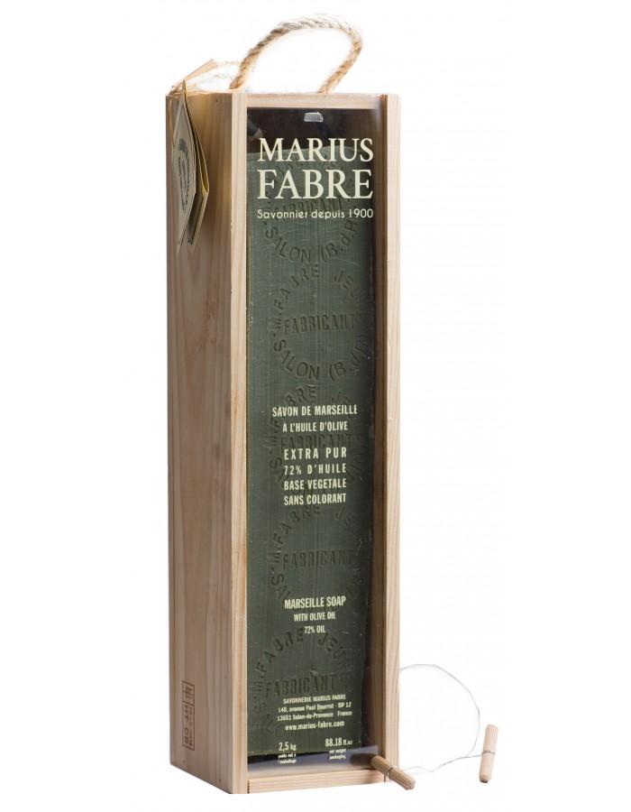 Savon de Marseille à l'huile d'olive 2.5kg, dans un coffret en bois